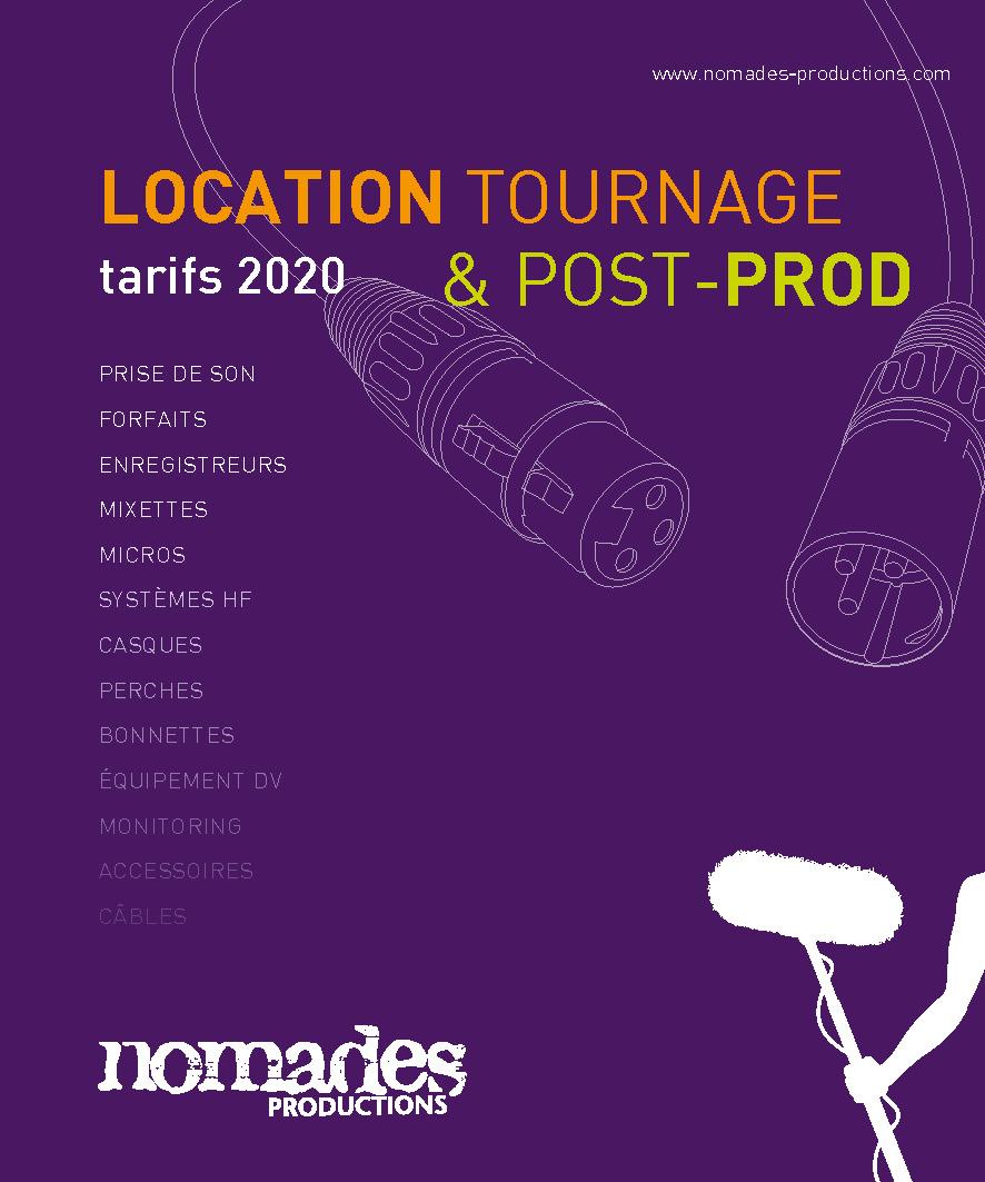 Tarif location nomades productions 2020